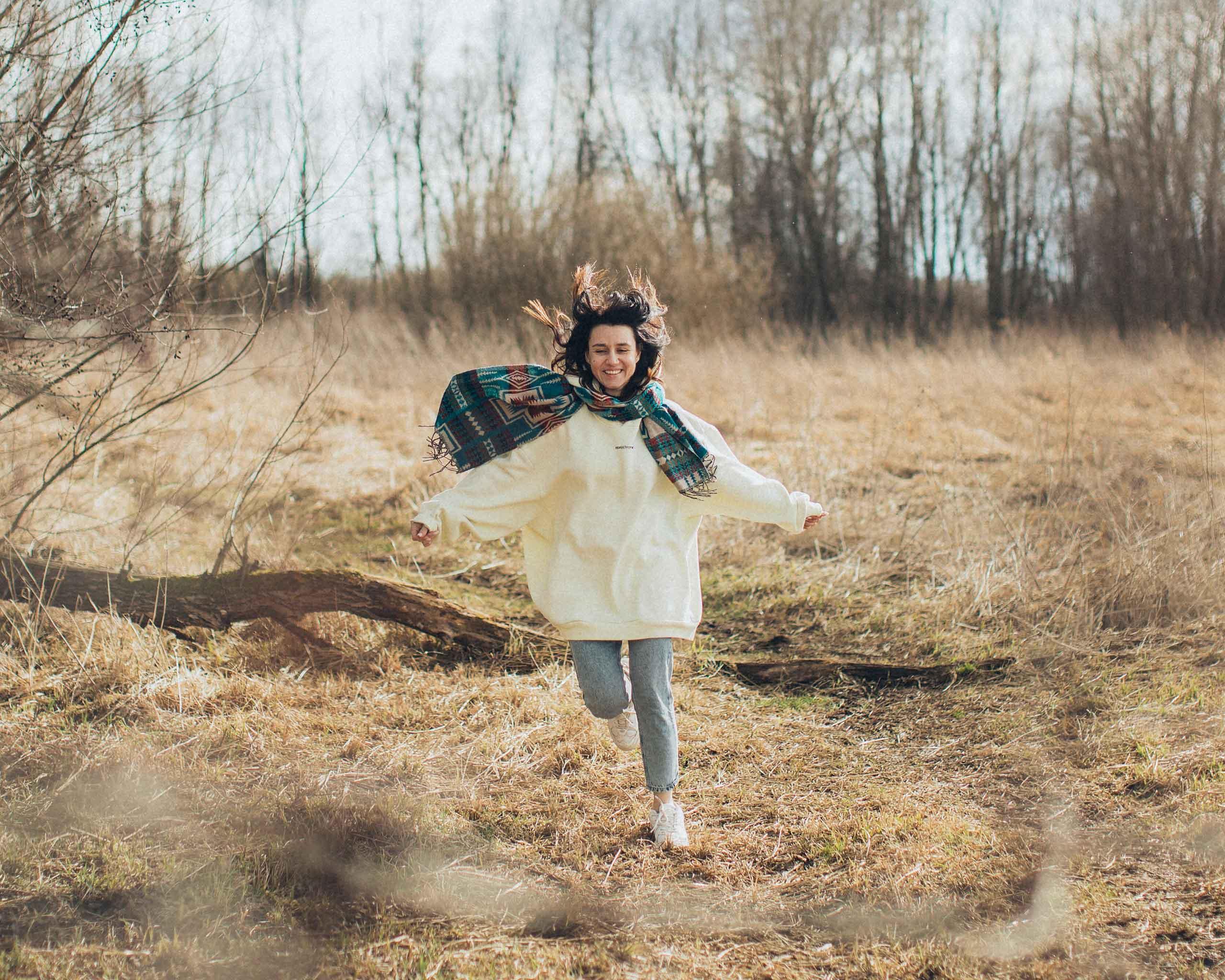 woman running late fall